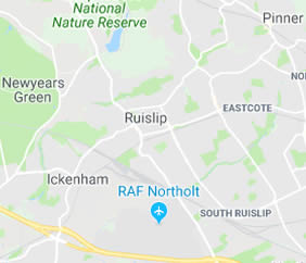map of Ruislip showing area covered